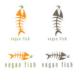 Negative space vector concept of fish skeleton. And carrot Royalty Free Stock Photography