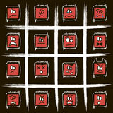 Negative square smilies Stock Image