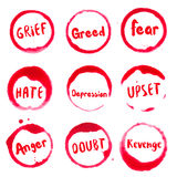 Negative thoughts collection of round watercolor. Negative thoughts collection of round watercolor stains with sadness, shame, guilt, despair, jealousy Stock Photography