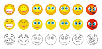 From negative to positive emoji emotions isolated. Royalty Free Stock Image
