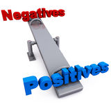 Negative vs positive. Negatives versus positives on a swing, positives outweighing negatives in every aspect of life Royalty Free Stock Photo