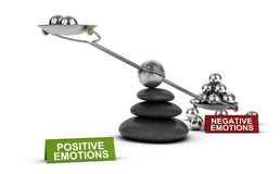 Negative VS Positive emotions, Psychology Concept. 3D illustration of a seesaw with metal spheres with the words positive and negative emotions over white Stock Photos