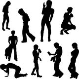 Negative Youth Silhouettes Stock Image