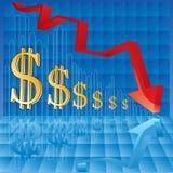 Negatives Geschäftsdiagramm Lizenzfreies Stockbild