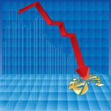 Negatives Geschäftsdiagramm Stockfotos