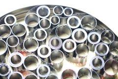 Negativos do arquivo do filme em uma lata redonda do metal fotos de stock