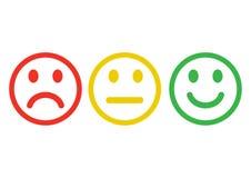 Negativt, neutralt och positivt olikt lynne f?r r?d, gul gr?n smileysemoticonssymbol ?versiktsdesign vektor stock illustrationer