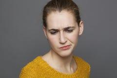 Negatywni uczucia pojęcia, kobieta Fotografia Stock