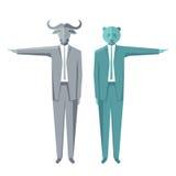 Negócio Bull e urso Foto de Stock Royalty Free