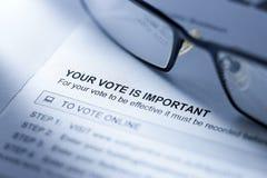 Negócio de votação do formulário do voto Fotografia de Stock Royalty Free