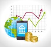 Negócio, dinheiro e economia global Foto de Stock Royalty Free
