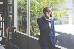 Negócio Person Talking Phone Concept Fotos de Stock Royalty Free