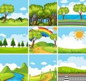 Negen aardscènes met groene bomen vector illustratie