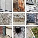 Negen beelden van verwering en oude substanties stock afbeeldingen