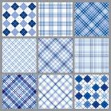Negen Blauwe Plaiden Royalty-vrije Stock Afbeeldingen