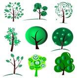 Negen bomen Stock Afbeelding