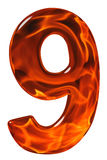 9, negen, cijfer van glas met een abstract patroon van een flamin Stock Afbeeldingen