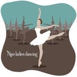 Negen dames dansende vectorillustratie stock illustratie
