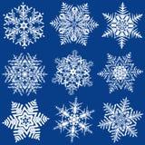 Negen Fabelachtige Originele Sneeuwvlokken Royalty-vrije Stock Foto's