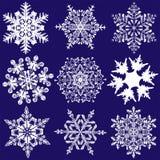 Negen Fabelachtigere Originele Sneeuwvlokken Stock Fotografie