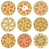 Negen geïsoleerde pizza's Stock Afbeelding