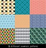 Negen geometrische naadloze patronen Royalty-vrije Stock Fotografie