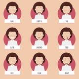 Negen gezichten van beeldverhaalemoties voor vectorkarakters Stock Foto's