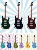 Negen gitaren Royalty-vrije Stock Afbeeldingen