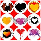 Negen Gloednieuwe Harten, Vleugels en Brand. Royalty-vrije Stock Afbeelding