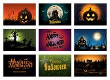 Negen griezelige Halloween de partijuitnodiging van de groetkaart Stock Afbeeldingen