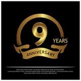 Negen jaar verjaardags gouden het ontwerp van het verjaardagsmalplaatje voor Web, spel, Creatieve affiche, boekje, pamflet, vlieg royalty-vrije illustratie