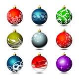 Negen Kerstmisbal Stock Foto's