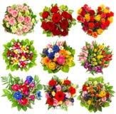 Negen kleurrijk bloemenboeket op wit Stock Afbeelding