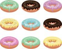 Negen kleurrijke donuts royalty-vrije illustratie