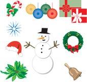 Negen Pictogrammen 1 van Kerstmis vector illustratie
