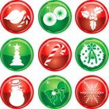Negen Pictogrammen van Kerstmis knoopt 1 dicht Royalty-vrije Stock Foto's