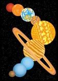 Negen planeten van zonnestelsel Stock Foto