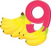 Negen rijpe bananen Stock Afbeelding