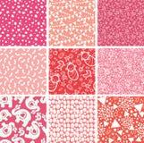 Negen roze naadloze de patronenachtergronden van het babymeisje Royalty-vrije Stock Foto