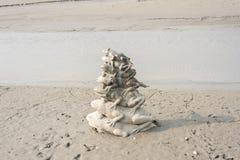 Negen stapels van het Kikkerstandbeeld in het Meer van de Zonmaan royalty-vrije stock afbeeldingen