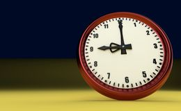 Negen uur als achtergrond grote van het klok spoedhorloge gele 3D illustratie royalty-vrije stock afbeelding