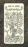 Negen van toverstokjes De Magische kaart van het Poorttarot vector illustratie