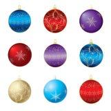 Negen verschillende decoratieve bollen Royalty-vrije Stock Afbeeldingen