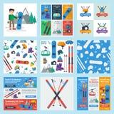 Negen vierkante banners van de winter en sportactiviteit stock illustratie