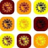 Negen zonnen Stock Afbeeldingen