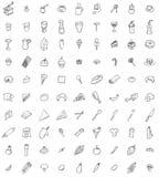 Negentig hand getrokken voedsel en keukengereipictogrammen Stock Afbeeldingen