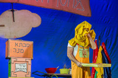 Negev, Beer-Sheva, Israel - The actor on the stage of the theater of children's performance in Hebrew Royalty Free Stock Photos