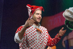 Negev, Beer-Sheva - Israel -youth Palace, - Male actor in a red cap and a blouse with red polka dots Stock Image