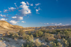 Negev desert. Beautiful white clouds in the blue sky in the desert Stock Photos