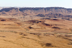 Negev desert crater mountains landscape, Israel. Royalty Free Stock Photo